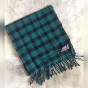 Pure New Wool VTG scarf dark green black stunning